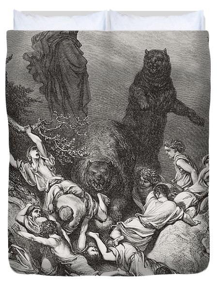 The Children Destroyed By Bears Duvet Cover by Gustave Dore