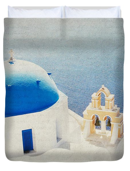 Duvet Cover featuring the photograph The Church - Santorini by Lisa Parrish