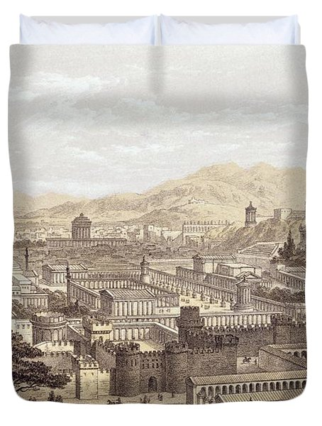 The City Of Ephesus From Mount Coressus Duvet Cover by Edward Falkener
