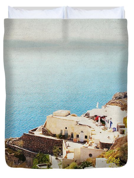 Duvet Cover featuring the photograph The Cliffside - Santorini by Lisa Parrish