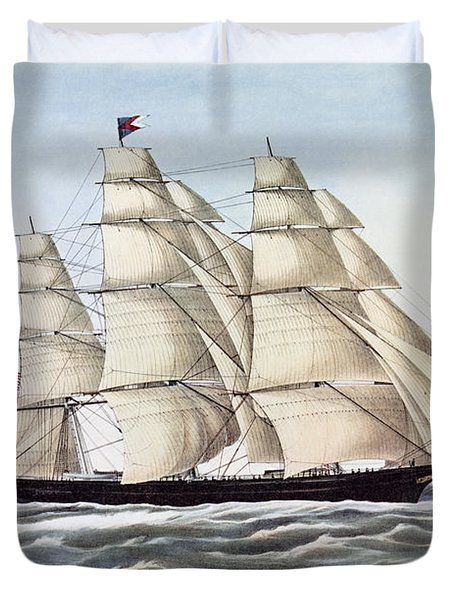 The Clipper Ship Flying Cloud Duvet Cover by Anonymous