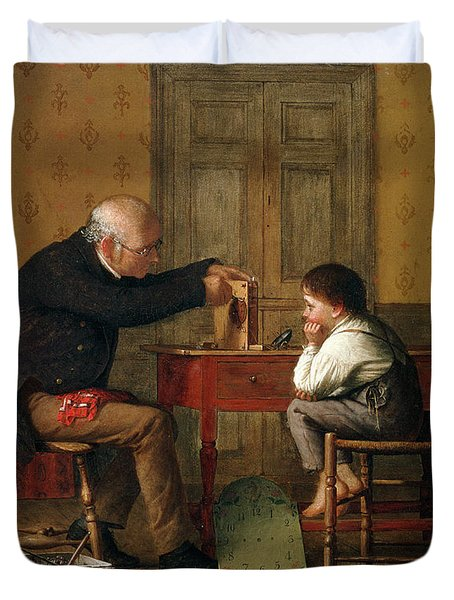 The Clock Doctor, 1871 Duvet Cover by Enoch Wood Perry