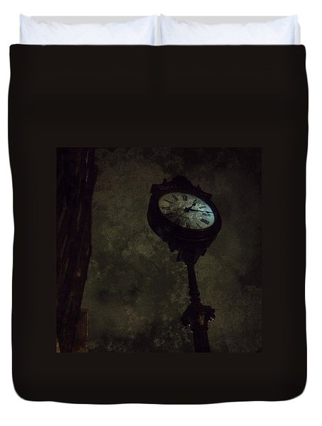 The Clock Of Greenpoint Duvet Cover by Natasha Marco