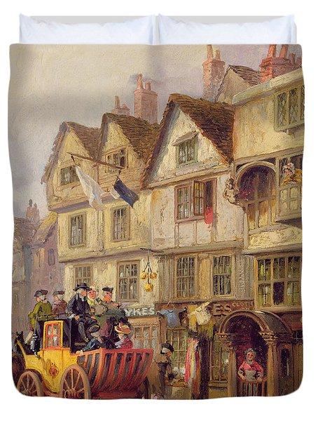 The Cock Tavern Duvet Cover by Albert Joseph Moore