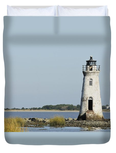 The Cockspur Island Light And Tybee Duvet Cover by Bradford Martin