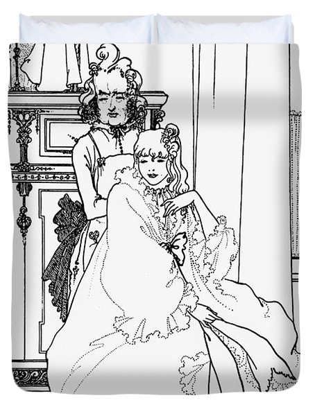 The Coiffing Duvet Cover by Aubrey Beardsley