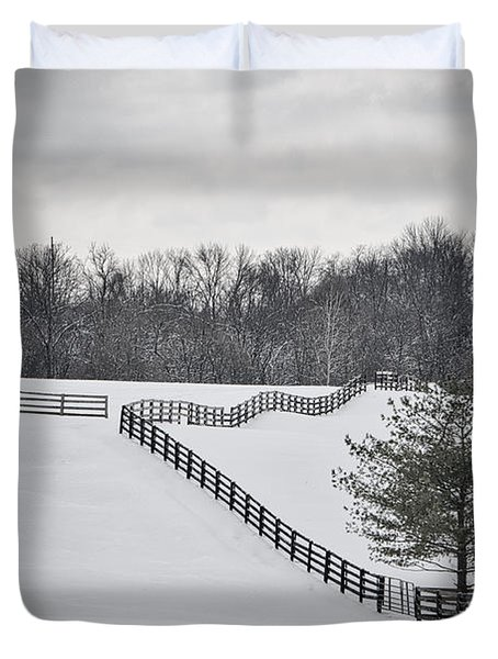 The Color Of Winter - Bw Duvet Cover by Mary Carol Story