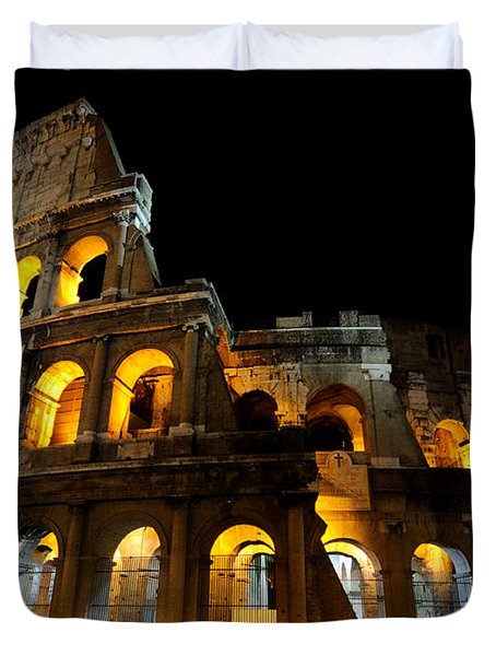 Duvet Cover featuring the photograph The Colosseum At Night by Jeremy Voisey