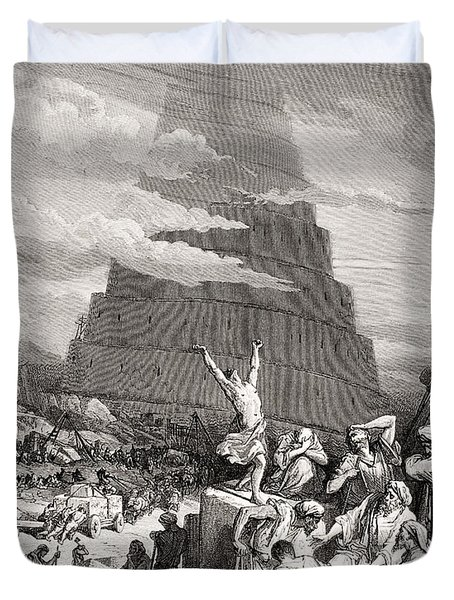 The Confusion Of Tongues Duvet Cover by Gustave Dore
