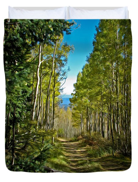 Duvet Cover featuring the painting The Cool Path Through Arizona Aspens by John Haldane
