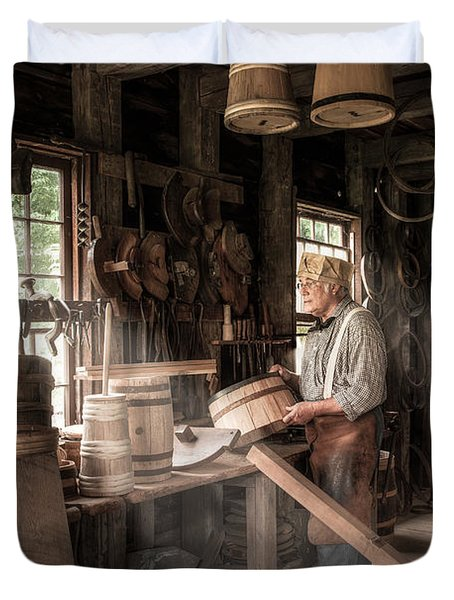 Duvet Cover featuring the photograph The Cooper - 19th Century Artisan In His Workshop  by Gary Heller