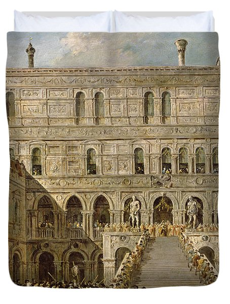 The Coronation Of The Doge Of Venice On The Scala Dei Giganti Of The Palazzo Ducale, 1766-70 Oil Duvet Cover