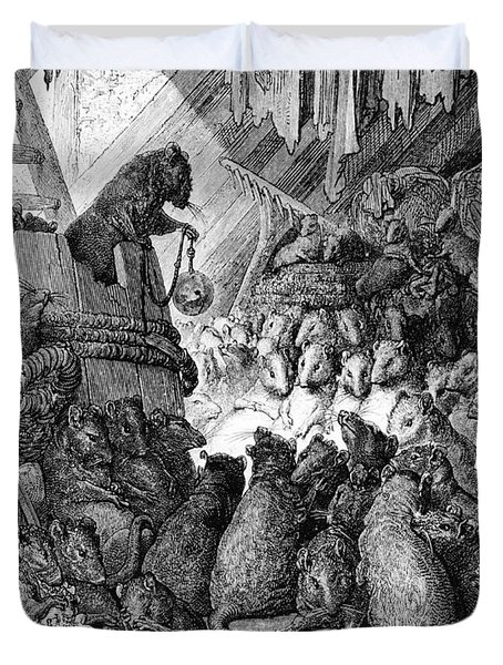 The Council Held By The Rats Duvet Cover by Gustave Dore