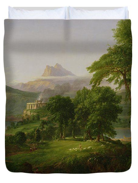 The Course Of Empire   The Arcadian Or Pastoral State Duvet Cover by Thomas Cole