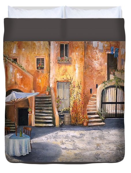 Duvet Cover featuring the painting The Courtyard by Alan Lakin