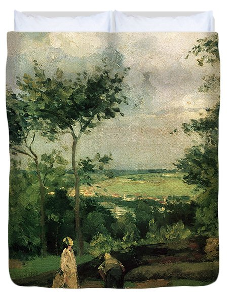 The Courtyard At Louveciennes Duvet Cover by Camille Pissarro