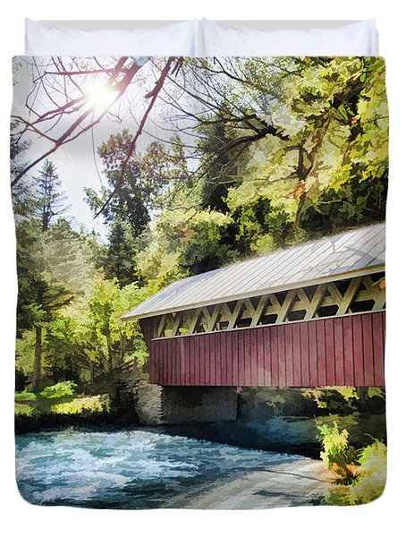 The Covered Bridge At The Red Mill Duvet Cover