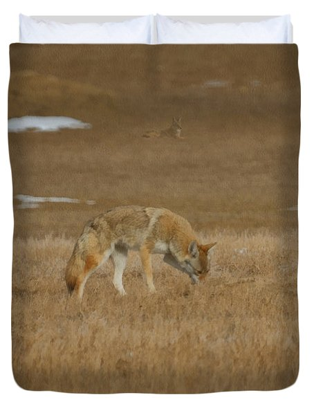The Coyotes Painterly Duvet Cover by Ernie Echols
