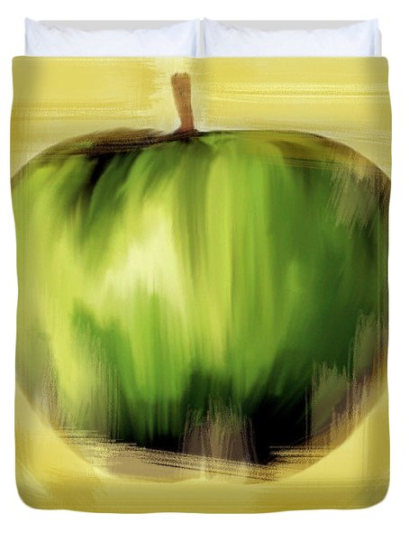 Duvet Cover featuring the painting The Creative Apple by Iconic Images Art Gallery David Pucciarelli