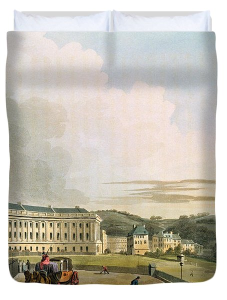 The Crescent, From Bath Illustrated Duvet Cover by John Claude Nattes