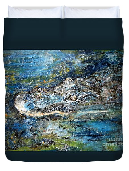 Duvet Cover featuring the painting The Crocodile Hunter by Jieming Wang