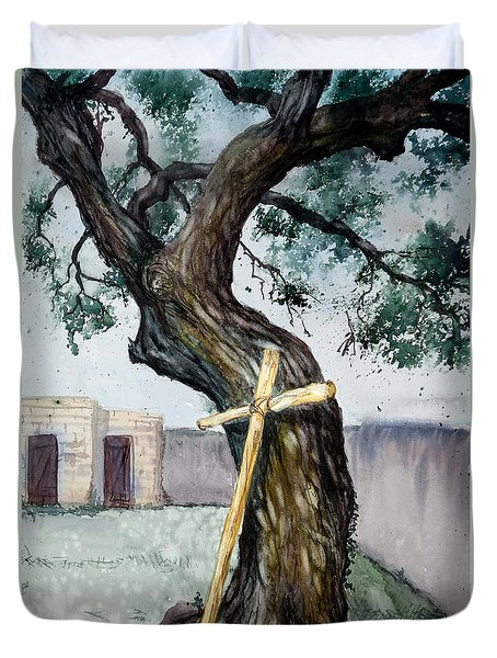 Da216 The Cross And The Tree By Daniel Adams Duvet Cover