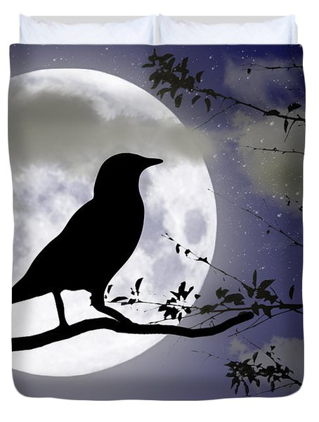 The Crow And Moon Duvet Cover by Brian Wallace
