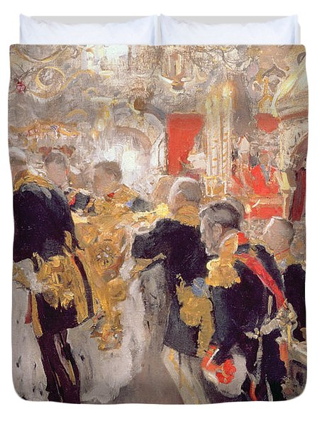 The Crowning Of Emperor Nicholas II 1868-1918 In The Assumption Cathedral, 1896 Oil On Canvas Duvet Cover