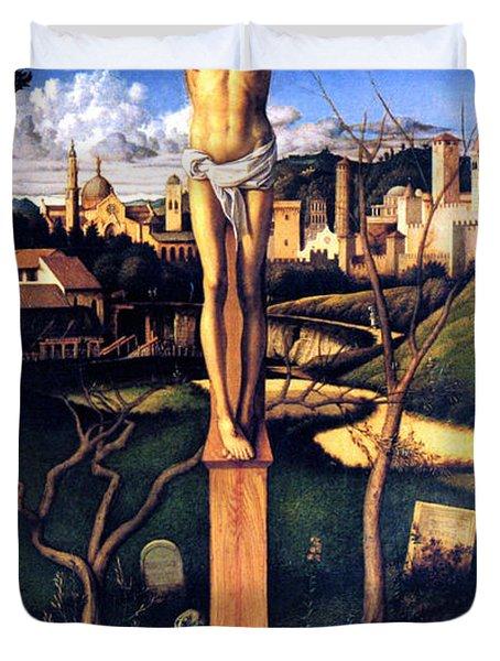 The Crucifixion 1503 Giovanni Bellini Duvet Cover by Karon Melillo DeVega
