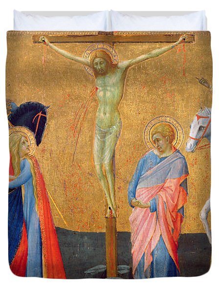 The Crucifixion Duvet Cover by Master of the Madonna of San Pietro of Ovila