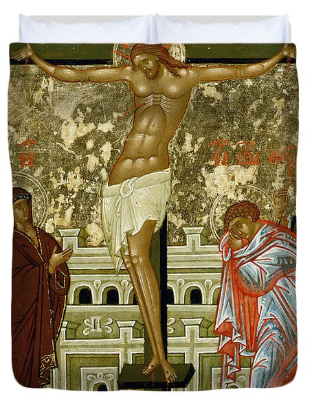 The Crucifixion Of Our Lord Duvet Cover by Novgorod School