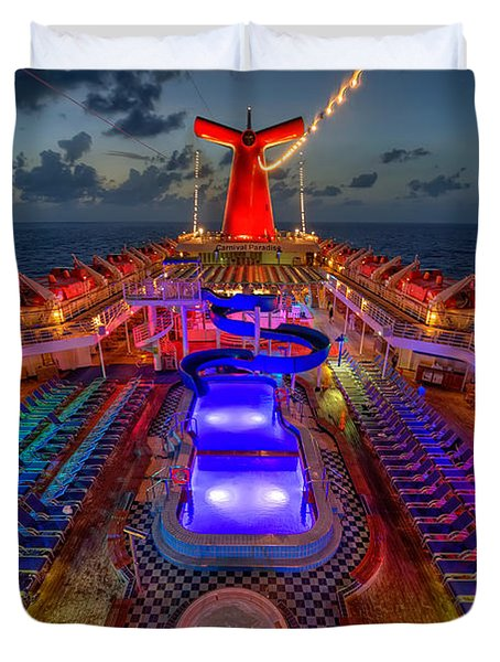 The Cruise Lights At Night Duvet Cover
