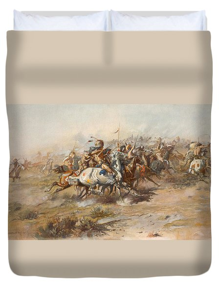 The Custer Fight  Duvet Cover by War Is Hell Store