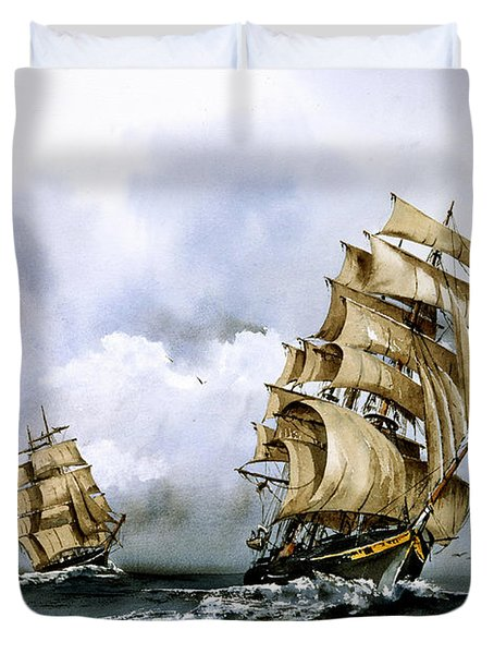 The Cutty Sark And The Red Clipper Duvet Cover