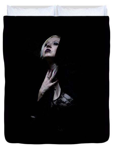 Duvet Cover featuring the photograph The Dark Witch by Mez