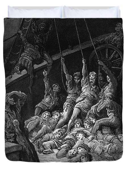 The Dead Sailors Rise Up And Start To Work The Ropes Of The Ship So That It Begins To Move Duvet Cover by Gustave Dore