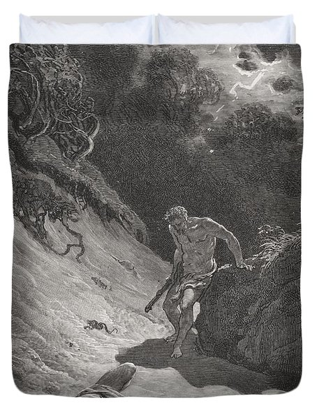 The Death Of Abel Duvet Cover by Gustave Dore