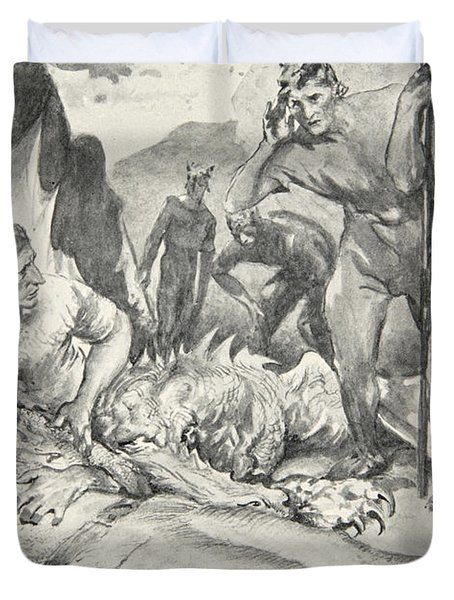 The Death Of Beowulf Duvet Cover by John Henry Frederick Bacon
