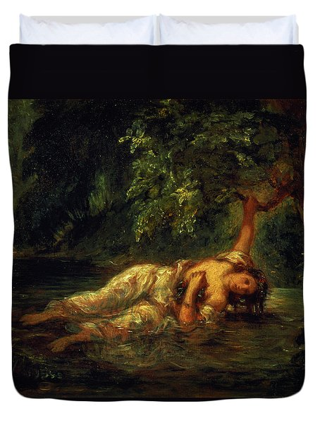 The Death Of Ophelia, 1844 Duvet Cover