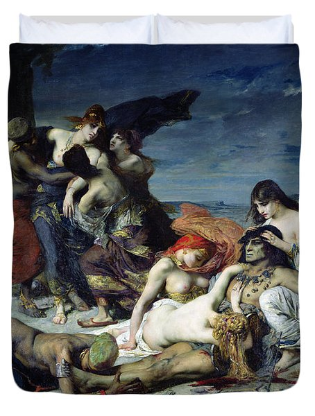 The Death Of Ravana Duvet Cover by Fernand Cormon