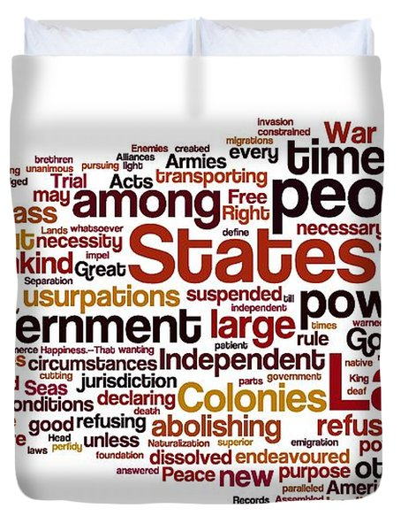 The Declaration Of Independence Duvet Cover by Florian Rodarte
