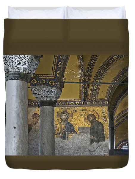 The Deesis Mosaic At Hagia Sophia Duvet Cover by Ayhan Altun