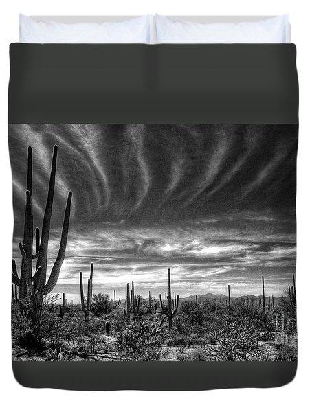 The Desert In Black And White Duvet Cover