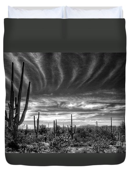 The Desert In Black And White Duvet Cover by Saija  Lehtonen