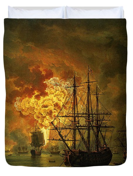 The Destruction Of The Turkish Fleet At The Bay Of Chesma Duvet Cover by Jacob Philippe Hackert