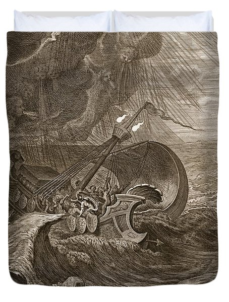 The Dioscuri Protect A Ship, 1731 Duvet Cover by Bernard Picart