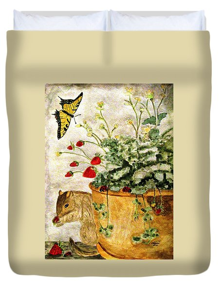 Duvet Cover featuring the painting The Discovery by Angela Davies