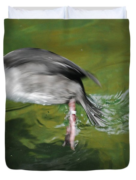 Duvet Cover featuring the photograph The Dive by Maggy Marsh