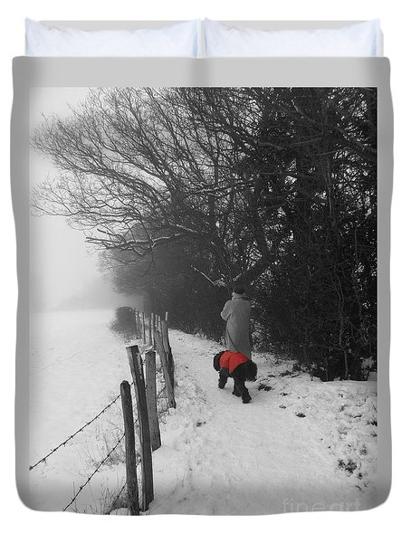 The Dog In The Red Coat Duvet Cover by Vicki Spindler
