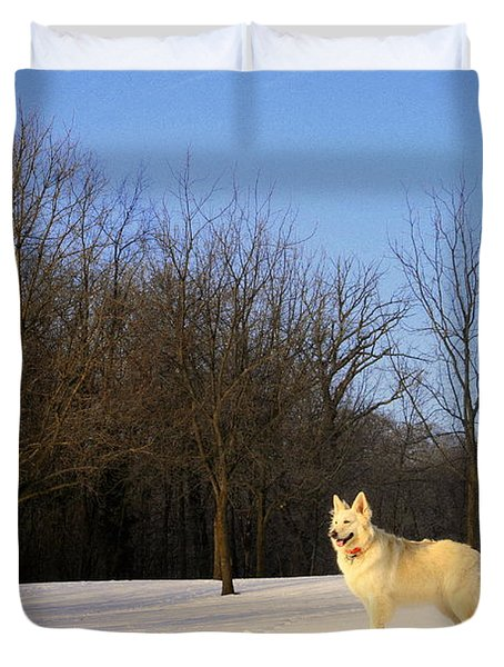 The Dog On The Hill Duvet Cover by Kay Novy